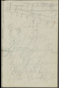 """Sketch for """"ex Maria Virgine"""" from Credo of the Missa Solemnis, leaf 9r of Conversation Book 13"""
